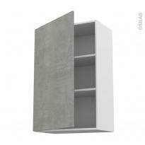Meuble de cuisine - Haut ouvrant - FAKTO Béton - 1 porte - L60 x H92 x P37 cm