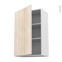 Meuble de cuisine - Haut ouvrant - IKORO Chêne clair - 1 porte - L60 x H92 x P37 cm