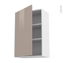 Meuble de cuisine - Haut ouvrant - KERIA Moka - 1 porte - L60 x H92 x P37 cm