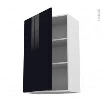 Meuble de cuisine - Haut ouvrant - KERIA Noir - 1 porte - L60 x H92 x P37 cm
