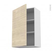 Meuble de cuisine - Haut ouvrant - STILO Noyer Blanchi - 1 porte - L60 x H92 x P37 cm
