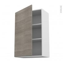 Meuble de cuisine - Haut ouvrant - STILO Noyer Naturel - 1 porte - L60 x H92 x P37 cm