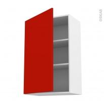 GINKO Rouge - Meuble haut ouvrant H92  - 1 porte - L60xH92xP37