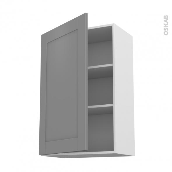 Meuble de cuisine - Haut ouvrant - FILIPEN Gris - 1 porte - L60 x H92 x P37 cm