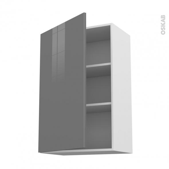 Meuble de cuisine - Haut ouvrant - STECIA Gris - 1 porte - L60 x H92 x P37 cm