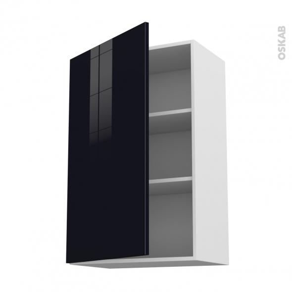 KERIA Noir - Meuble haut ouvrant H92  - 1 porte - L60xH92xP37