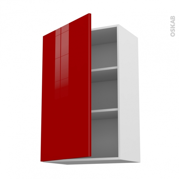 STECIA Rouge - Meuble haut ouvrant H92  - 1 porte - L60xH92xP37