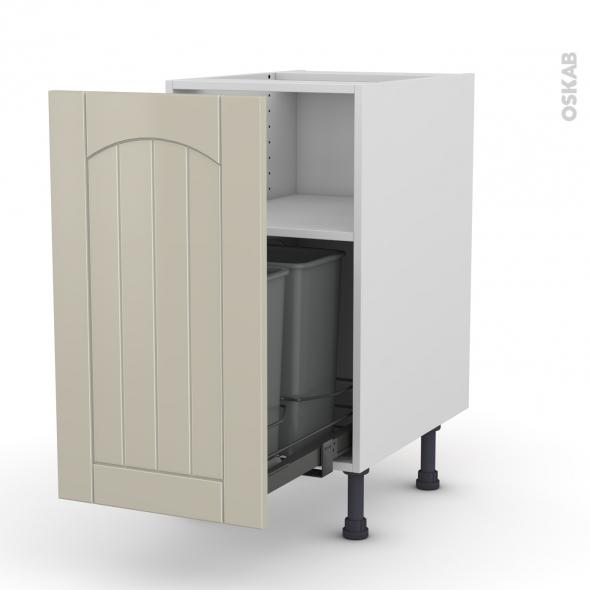 SILEN Argile - Meuble poubelle coulissant - 1 porte - L40xH70xP58