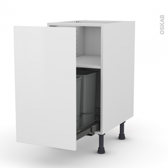 GINKO Blanc - Meuble poubelle coulissant - 1 porte - L40xH70xP58