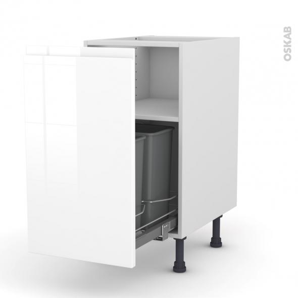 IPOMA Blanc - Meuble poubelle coulissant - 1 porte - L40xH70xP58