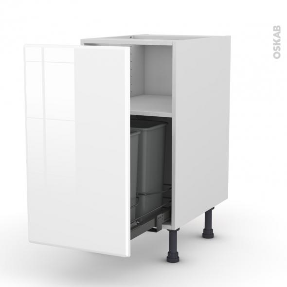 IRIS Blanc - Meuble poubelle coulissant - 1 porte - L40xH70xP58