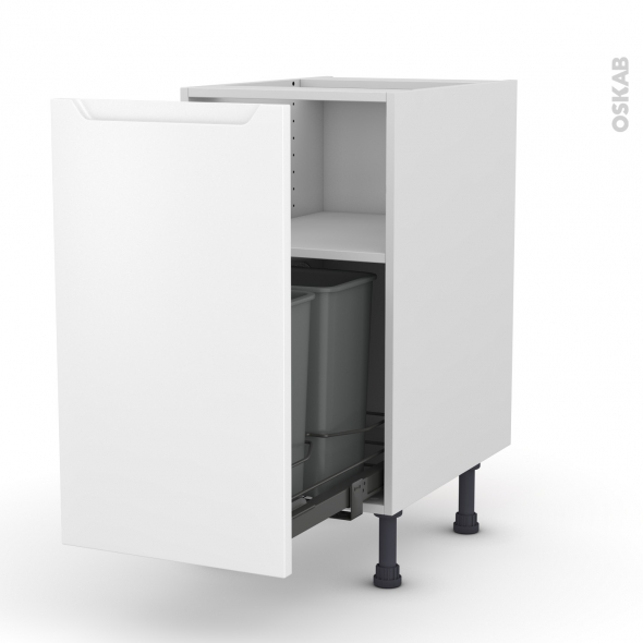 Meuble de cuisine - Poubelle coulissante - PIMA Blanc - 1 porte - L40 x H70 x P58 cm