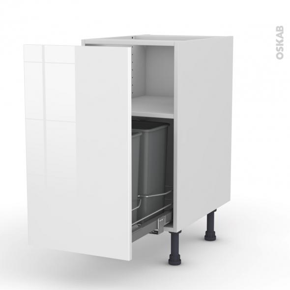 STECIA Blanc - Meuble poubelle coulissant - 1 porte - L40xH70xP58