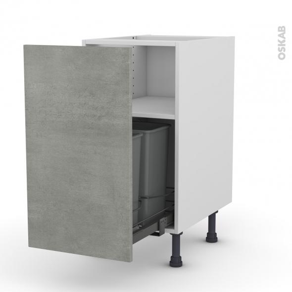 Meuble de cuisine - Poubelle coulissante - FAKTO Béton - 1 porte - L40 x H70 x P58 cm