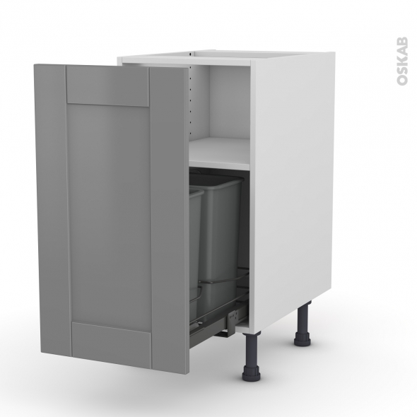 Meuble de cuisine - Poubelle coulissante - FILIPEN Gris - 1 porte - L40 x H70 x P58 cm
