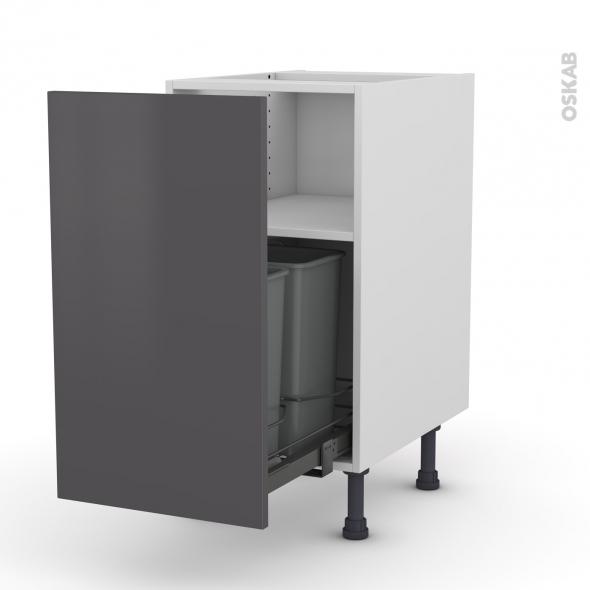 Meuble de cuisine - Poubelle coulissante - GINKO Gris - 1 porte - L40 x H70 x P58 cm