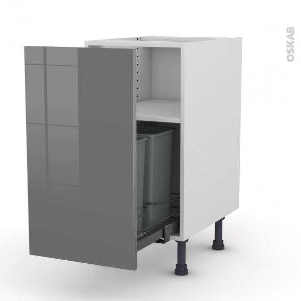 Meuble de cuisine - Poubelle coulissante - STECIA Gris - 1 porte - L40 x H70 x P58 cm