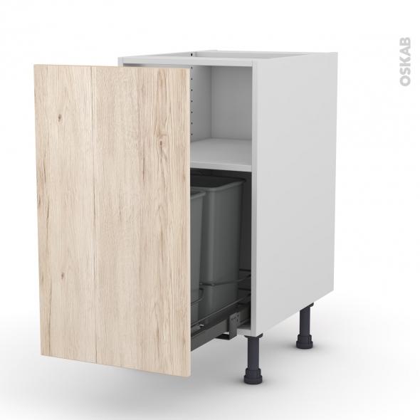 Meuble de cuisine - Poubelle coulissante - IKORO Chêne clair - 1 porte - L40 x H70 x P58 cm