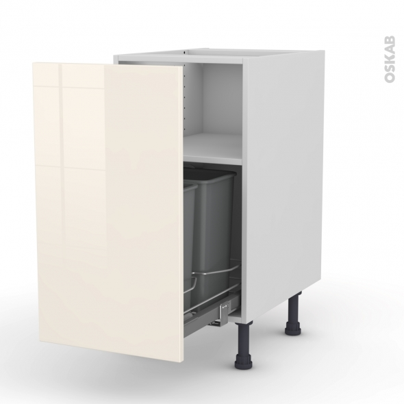 KERIA Ivoire - Meuble poubelle coulissant - 1 porte - L40xH70xP58
