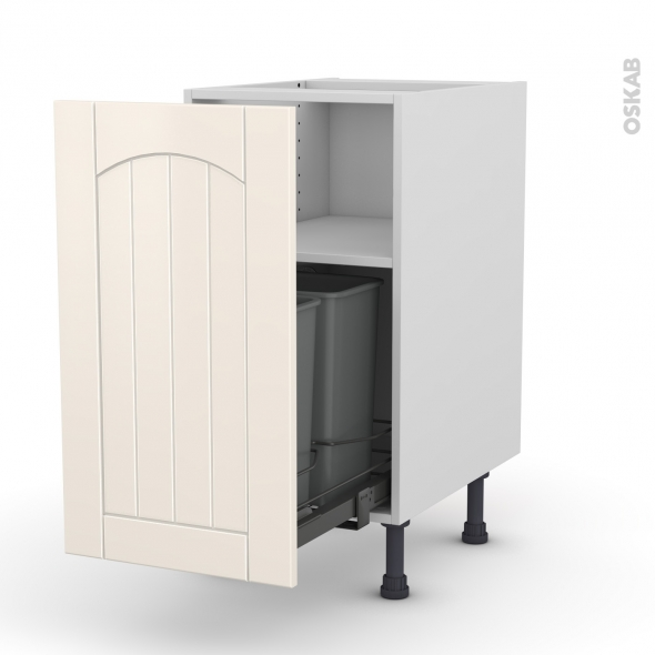 SILEN Ivoire - Meuble poubelle coulissant - 1 porte - L40xH70xP58