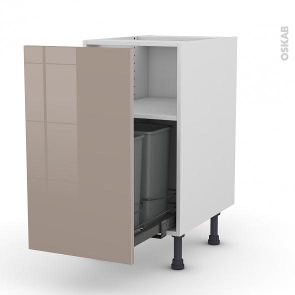 Meuble de cuisine - Poubelle coulissante - KERIA Moka - 1 porte - L40 x H70 x P58 cm