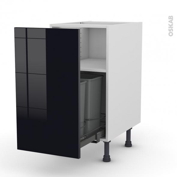 Meuble de cuisine - Poubelle coulissante - KERIA Noir - 1 porte - L40 x H70 x P58 cm