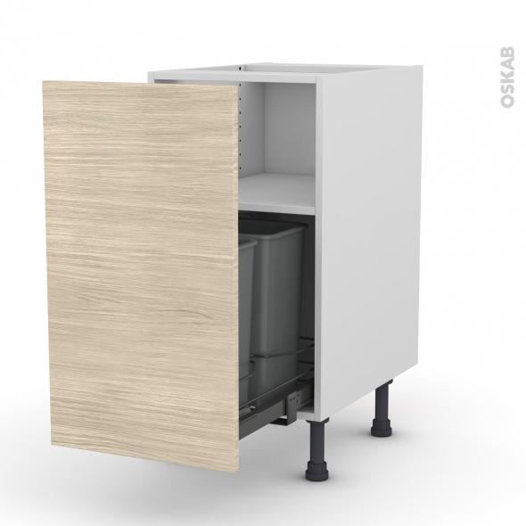 Meuble de cuisine - Poubelle coulissante - STILO Noyer Blanchi - 1 porte - L40 x H70 x P58 cm
