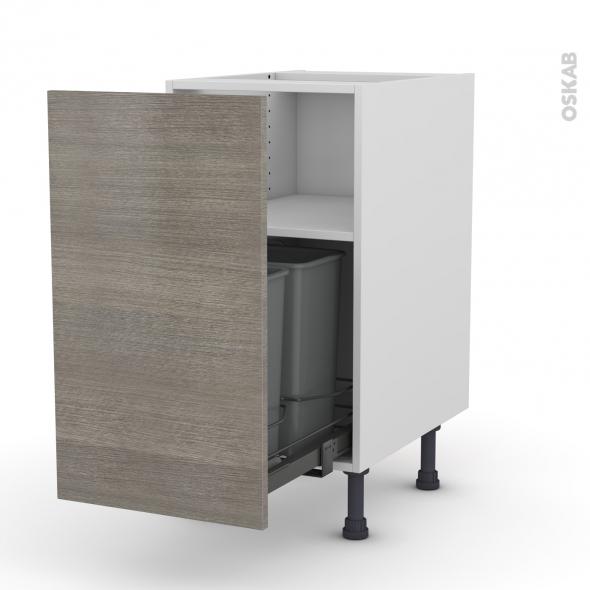 Meuble de cuisine - Poubelle coulissante - STILO Noyer Naturel - 1 porte - L40 x H70 x P58 cm