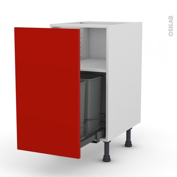 GINKO Rouge - Meuble poubelle coulissant - 1 porte - L40xH70xP58