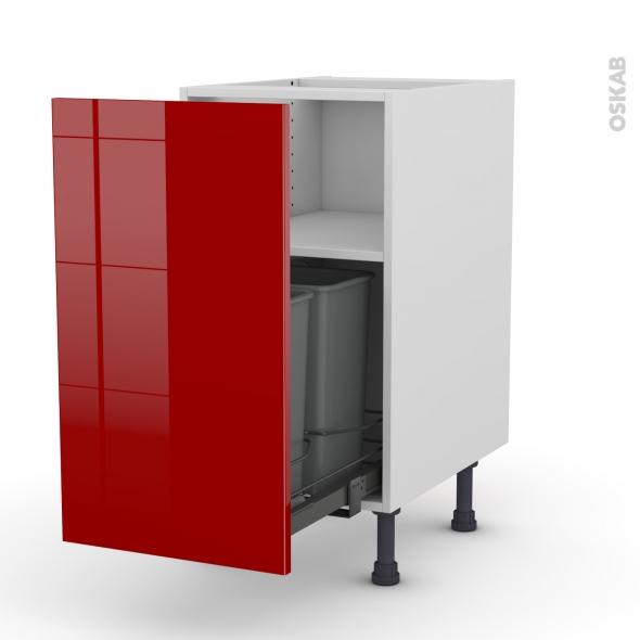Meuble de cuisine - Poubelle coulissante - STECIA Rouge - 1 porte - L40 x H70 x P58 cm