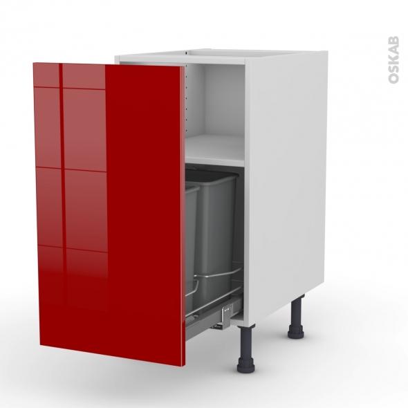 STECIA Rouge - Meuble poubelle coulissant - 1 porte - L40xH70xP58
