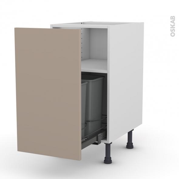 Meuble de cuisine - Poubelle coulissante - GINKO Taupe - 1 porte - L40 x H70 x P58 cm