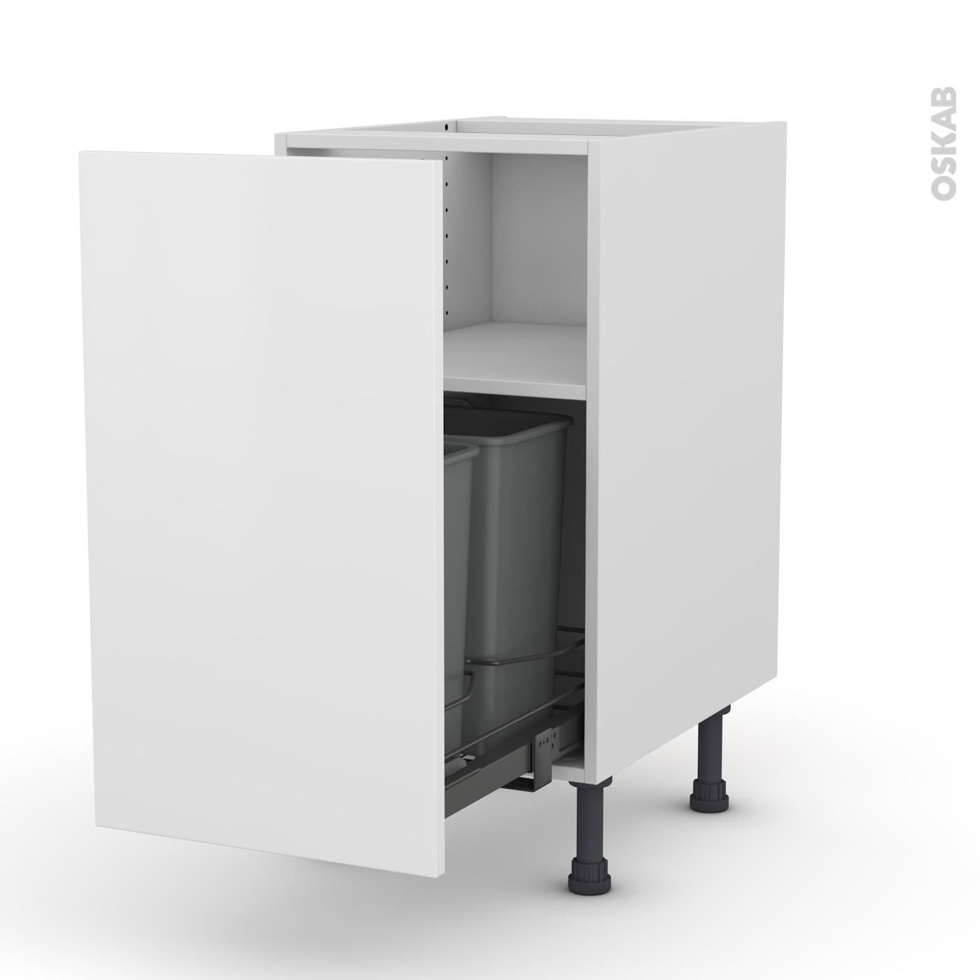 Meuble de cuisine Poubelle coulissante GINKO Blanc, 11 porte, L11 x H11 x  P11 cm