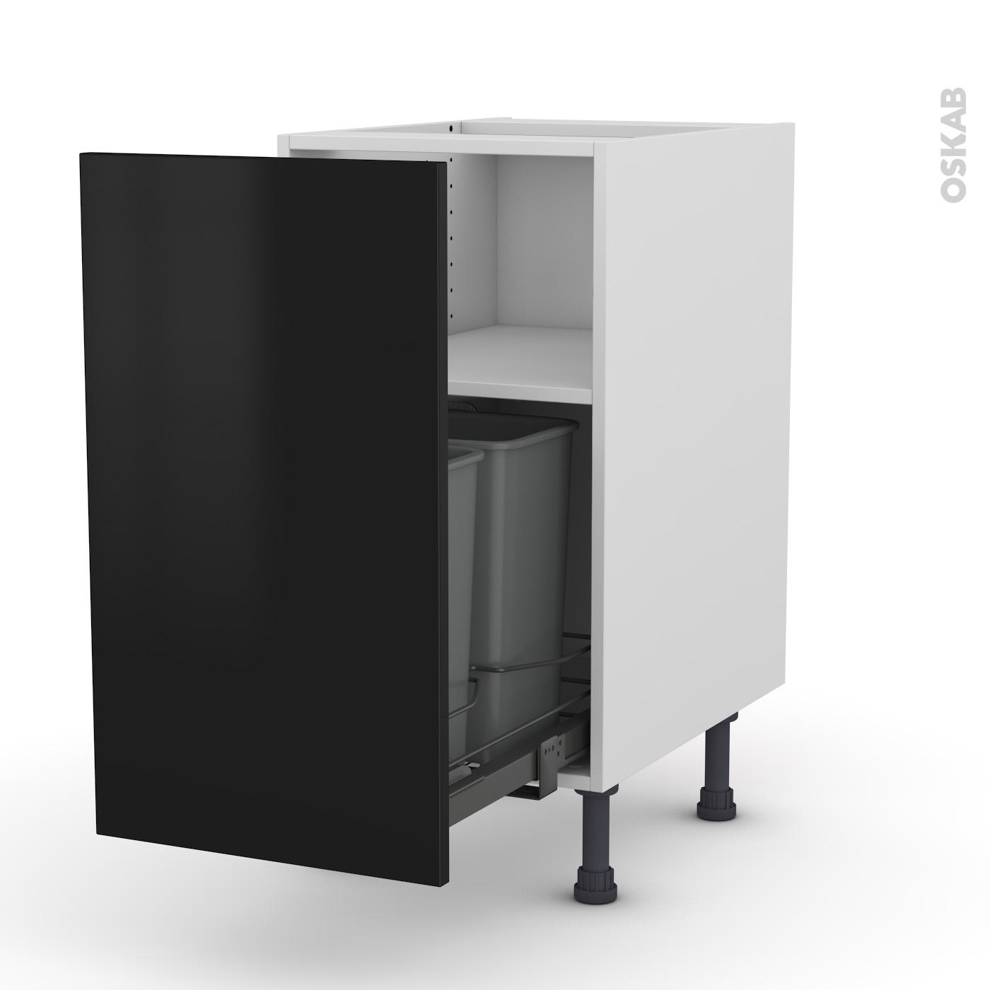 Meuble de cuisine Poubelle coulissante GINKO Noir, 11 porte, L11 x H11 x P11  cm