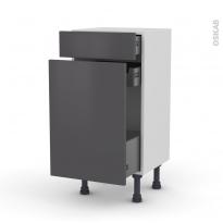 Meuble de cuisine - Range épice - GINKO Gris - 3 tiroirs - L40 x H70 x P37 cm