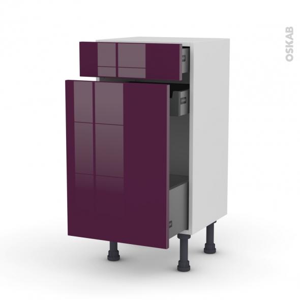 Meuble de cuisine - Range épice - KERIA Aubergine - 3 tiroirs - L40 x H70 x P37 cm