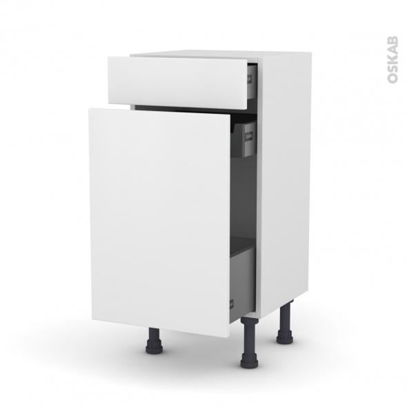 Meuble de cuisine - Range épice - GINKO Blanc - 3 tiroirs - L40 x H70 x P37 cm