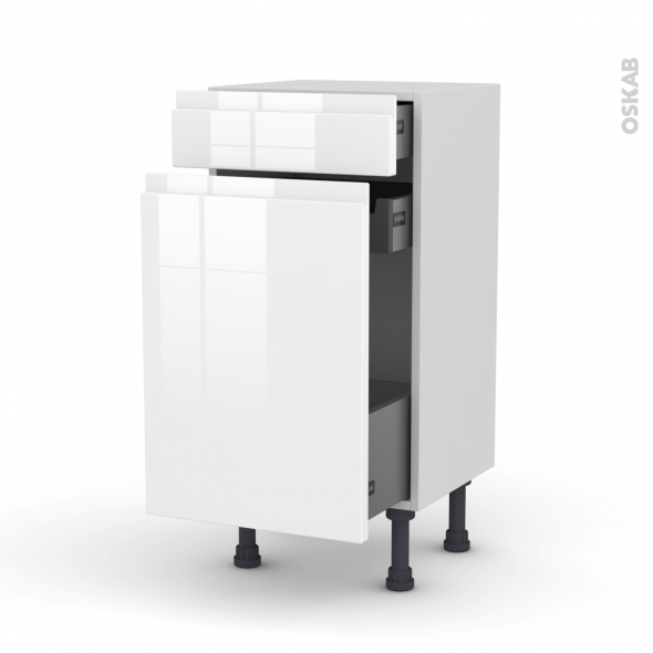 Meuble de cuisine - Range épice - IPOMA Blanc brillant - 3 tiroirs - L40 x H70 x P37 cm