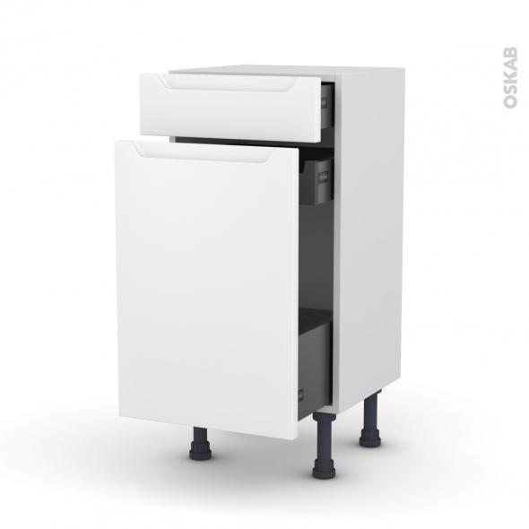 Meuble de cuisine - Range épice - PIMA Blanc - 3 tiroirs - L40 x H70 x P37 cm