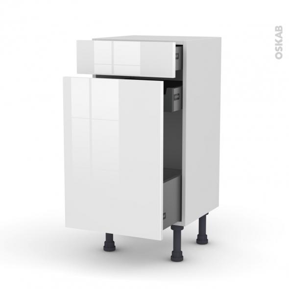 Meuble de cuisine - Range épice - STECIA Blanc - 3 tiroirs - L40 x H70 x P37 cm