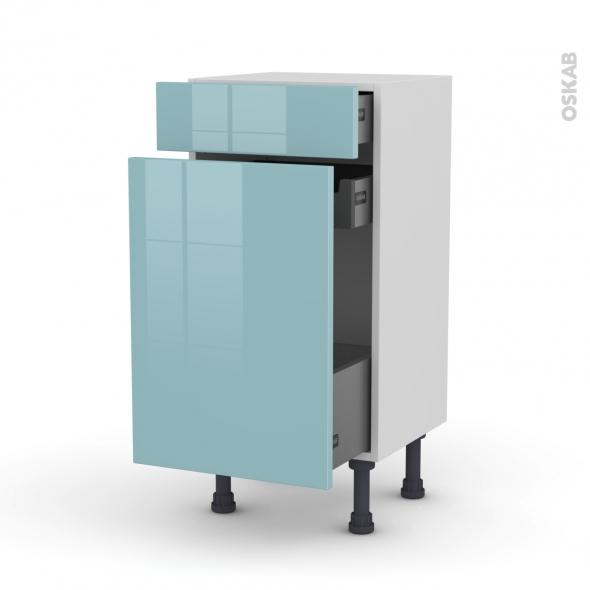Meuble de cuisine - Range épice - KERIA Bleu - 3 tiroirs - L40 x H70 x P37 cm