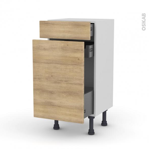 Meuble de cuisine - Range épice - HOSTA Chêne naturel - 3 tiroirs - L40 x H70 x P37 cm