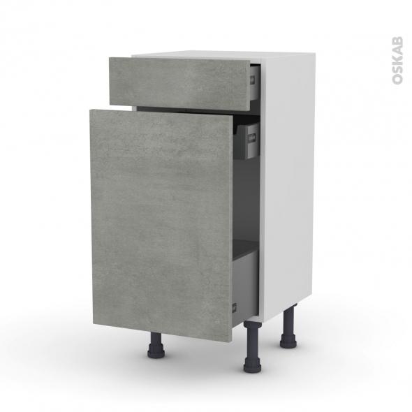 Meuble de cuisine - Range épice - FAKTO Béton - 3 tiroirs - L40 x H70 x P37 cm