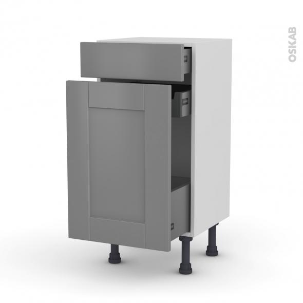 Meuble de cuisine - Range épice - FILIPEN Gris - 3 tiroirs - L40 x H70 x P37 cm