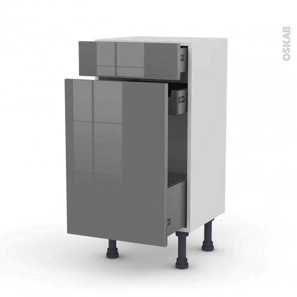Meuble de cuisine - Range épice - STECIA Gris - 3 tiroirs - L40 x H70 x P37 cm