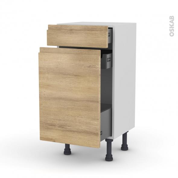 Meuble de cuisine - Range épice - IPOMA Chêne naturel - 3 tiroirs - L40 x H70 x P37 cm