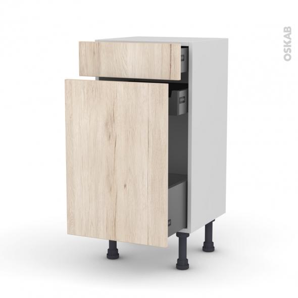 Meuble de cuisine - Range épice - IKORO Chêne clair - 3 tiroirs - L40 x H70 x P37 cm