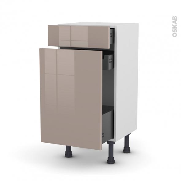 Meuble de cuisine - Range épice - KERIA Moka - 3 tiroirs - L40 x H70 x P37 cm