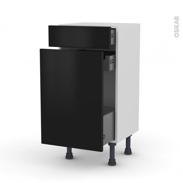GINKO Noir - Meuble range épice - 3 tiroirs - L40xH70xP37