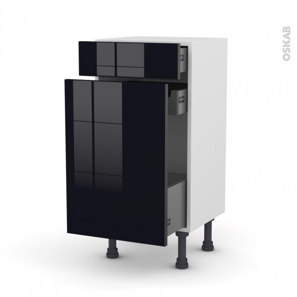 Meuble de cuisine - Range épice - KERIA Noir - 3 tiroirs - L40 x H70 x P37 cm